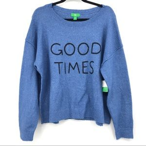 NWT Good Times Spell Out Sweater Size Medium